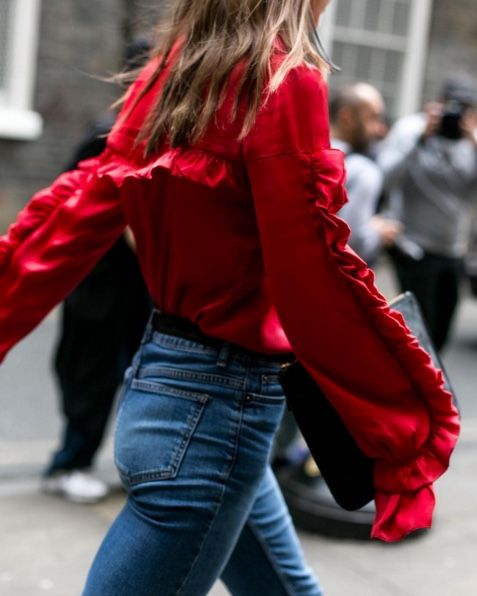 the fashion magpie red frill sleeve top
