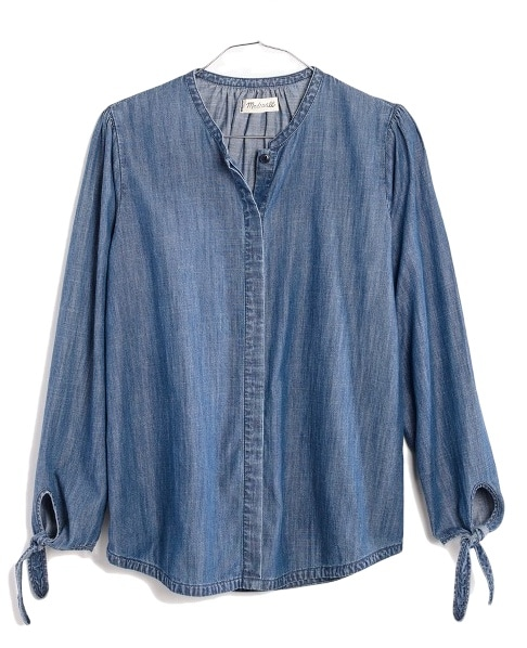 the fashion magpie madewell denim tie sleeve top