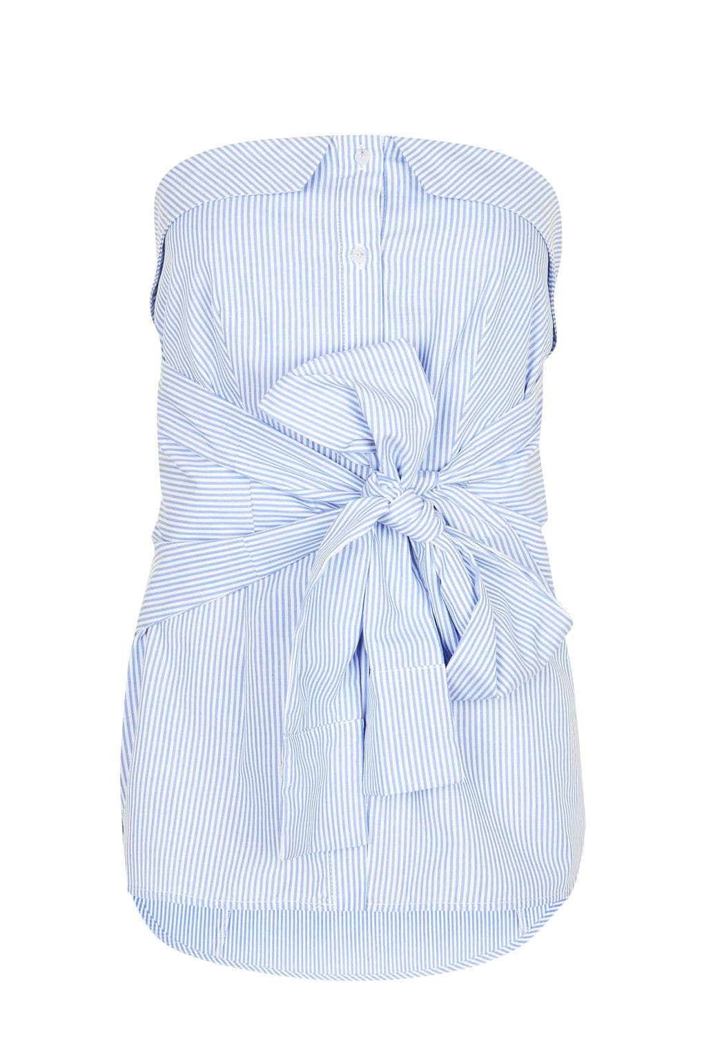 the fashion magpie striped bow front top