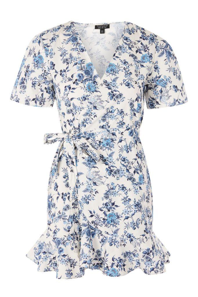 The Fashion Magpie Blue Toile Wrap Dress