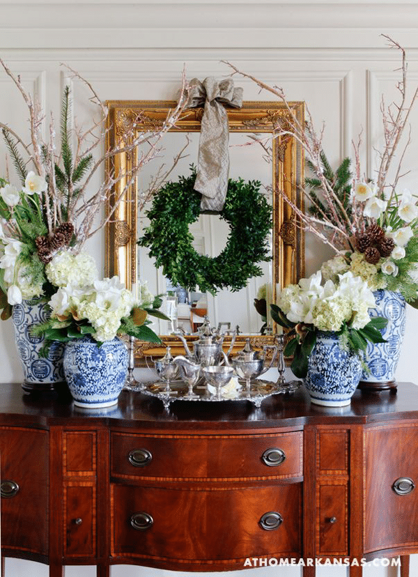 boxwood wreath on mirror